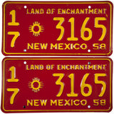 1958 New Mexico License Plates