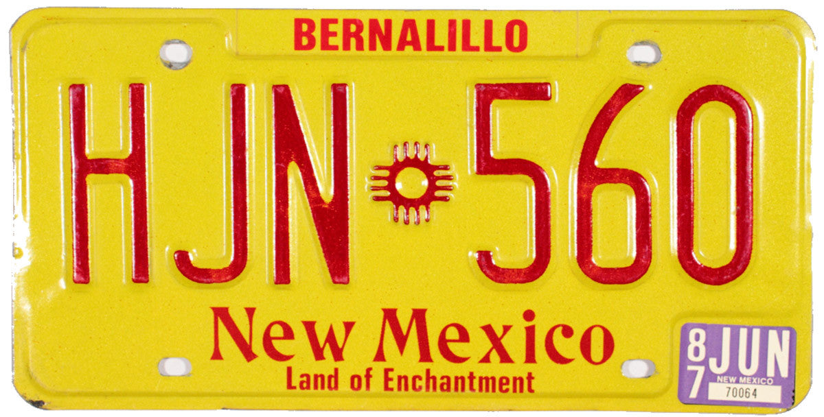 1987 New Mexico License Plate