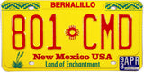 1993 New Mexico car License Plate from Bernalillo County in excellent condition