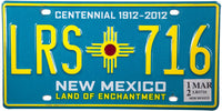 2012 New Mexico License Plate
