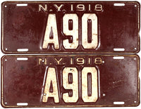 1918 New York License Plates DMV # A90
