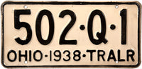 1938 Ohio Trailer License Plate