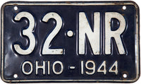 1944 Ohio License Plate shortie