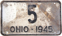 1945 Ohio License Plate Low DMV #5