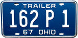 1967 Ohio Trailer License Plate