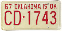 1967 Oklahoma License Plate Excellent Plus condition