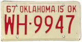 1967 Oklahoma License Plate Excellent Minus condition