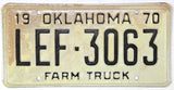 1970 Oklahoma Farm License Plate Very Good Condition