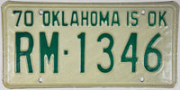 1970 Oklahoma License Plate Excellent condition