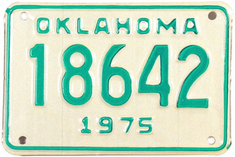 1975 Oklahoma Motorcycle License Plate