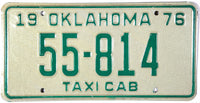 1976 Oklahoma Taxi License Plate in Excellent Plus condition