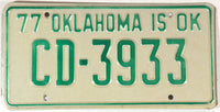 1977 Oklahoma License Plate in Excellent plus condition