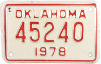1978 Oklahoma Motorcycle License Plate