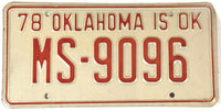 1978 Oklahoma License Plate in Excellent Plus condition