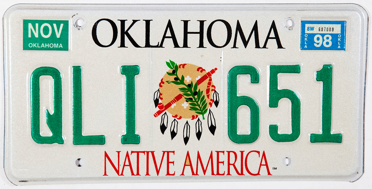 A graphic 1998 Oklahoma Native America Indian License Plate