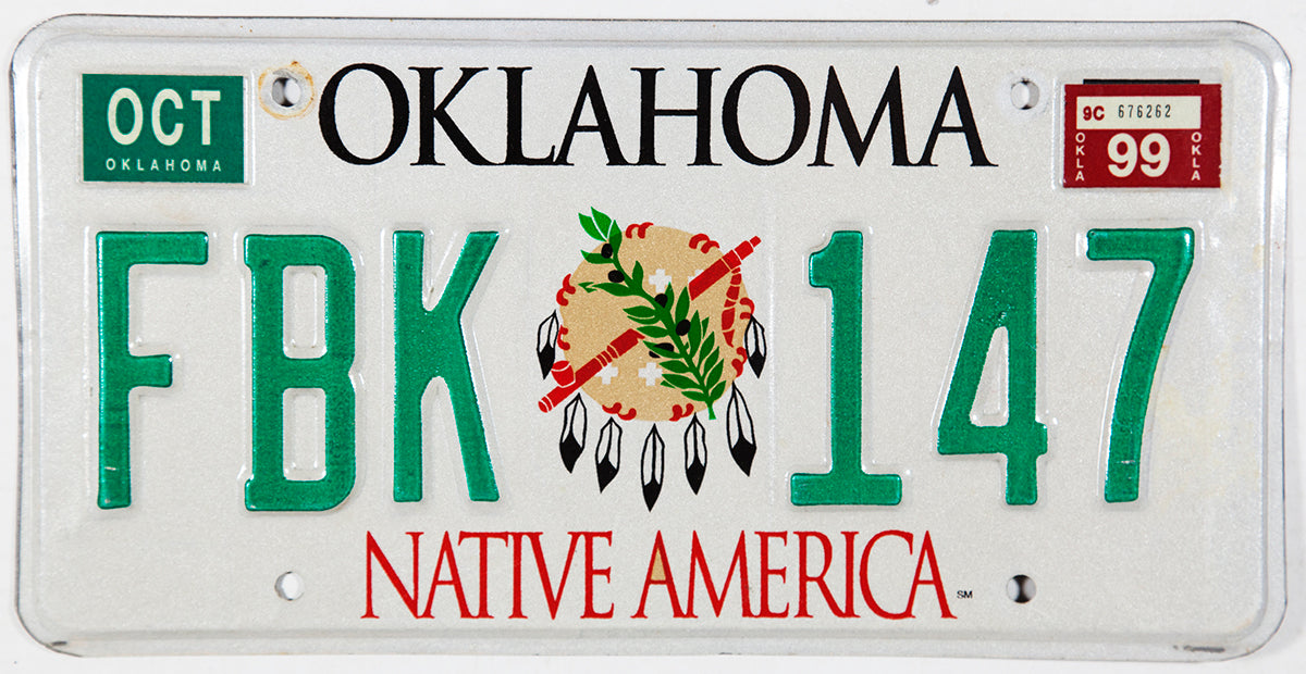 A graphic 1999 Oklahoma Native America Indian License Plate