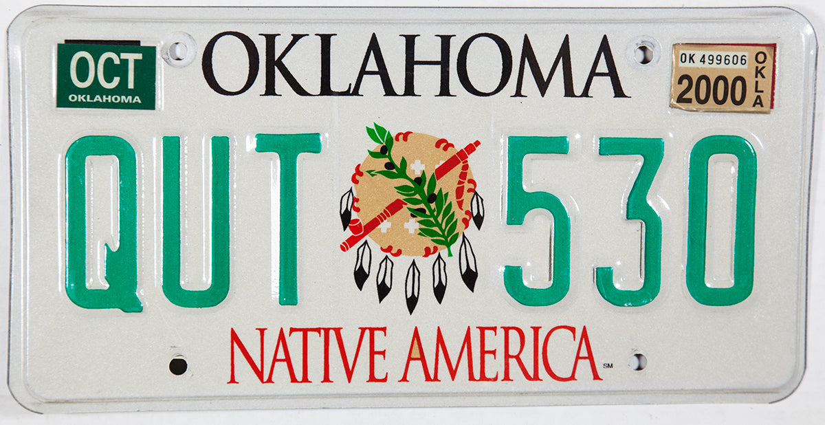 2000 Oklahoma Native America Indian License Plate