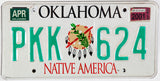 A graphic 2001 Oklahoma Native America Indian License Plate