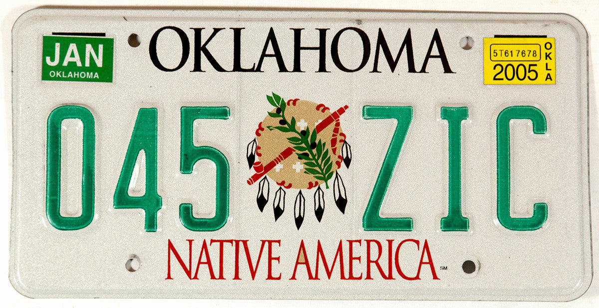 2005 Oklahoma Native America Indian License Plate