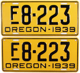 1939 Oregon Farm License Plates