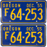 1955 Oregon License Plates