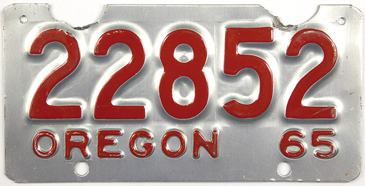 1965 Oregon Motorcycle License Plate