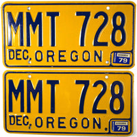 1979 Oregon License Plates