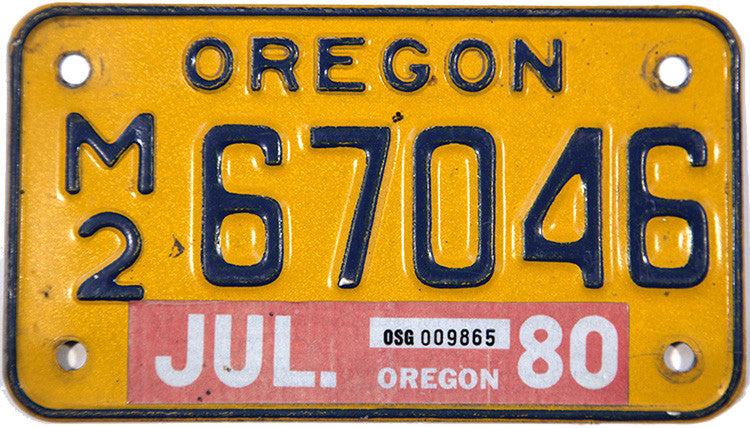 1980 Oregon Motorcycle License Plate