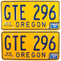 1987 Oregon License Plates