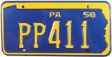 1958 Pennsylvania License Plate