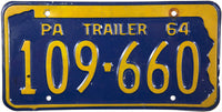 1964 Pennsylvnia Trailer License Plate