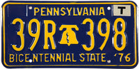1976 Pennsylvania License Plate