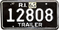 1965 Rhode Island Trailer License Plate