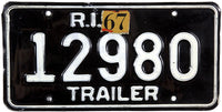 1967 Rhode Island Trailer License Plate