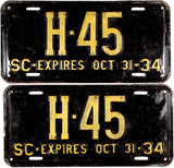 1934 South Carolina License Plates