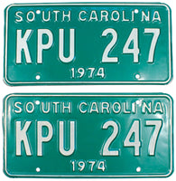 1974 South Carolina License Plates