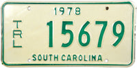 1978 South Carolina Trailer License Plate