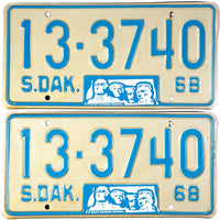 1968 South Dakota License Plates