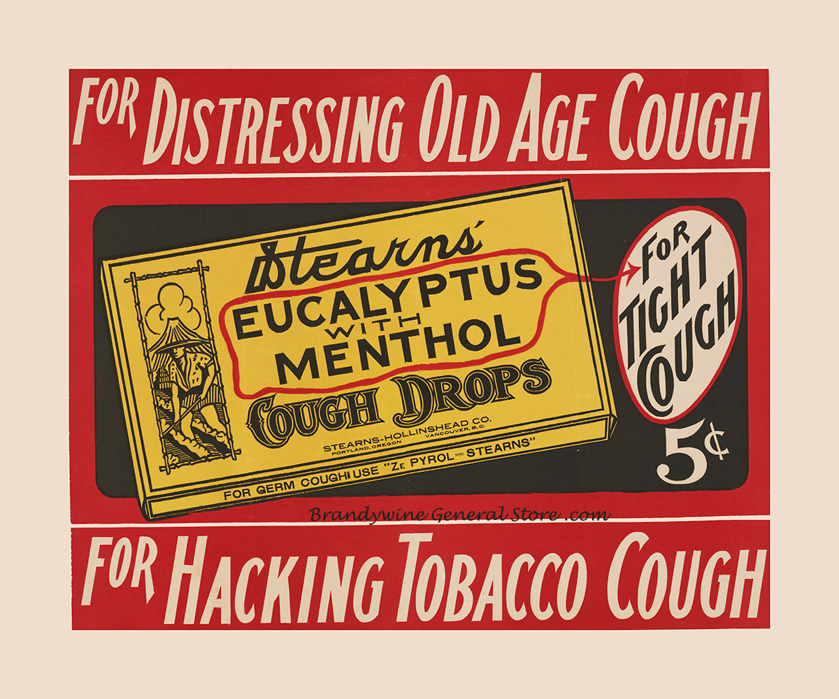 A premium archival print of Stearns Eucalyptus Cough Drops