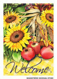 Welcome flag with sunflowers and apples
