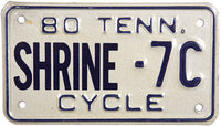 1980 Tennessee Shriners Motorcycle License Plate