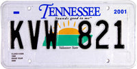 2001 Tennessee License Plate Near Mint