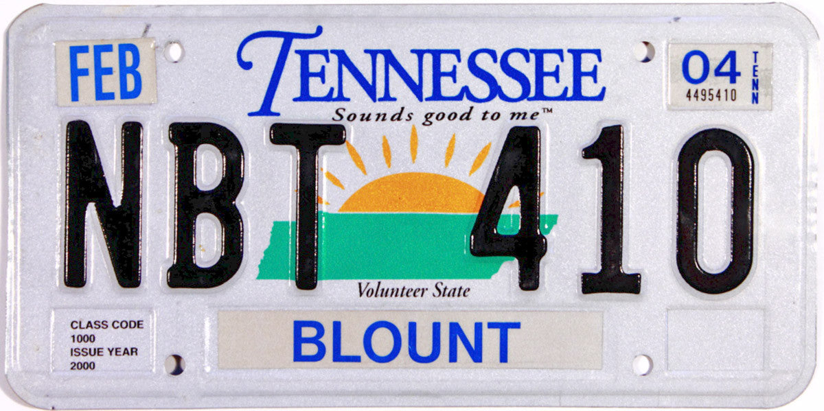 2004 Tennessee License Plate