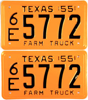 1955 Texas Farm Truck License Plates