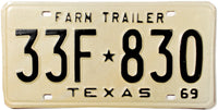 1969 Texas Farm Trailer License Plates