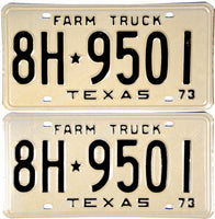 1973 Texas Farm Truck License Plates