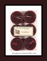 A 6 pack of Cranberry tealight candles made by The Old Candle Barn in Lancaster County