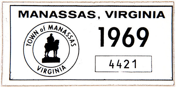 1969 Town of Manassas Sticker