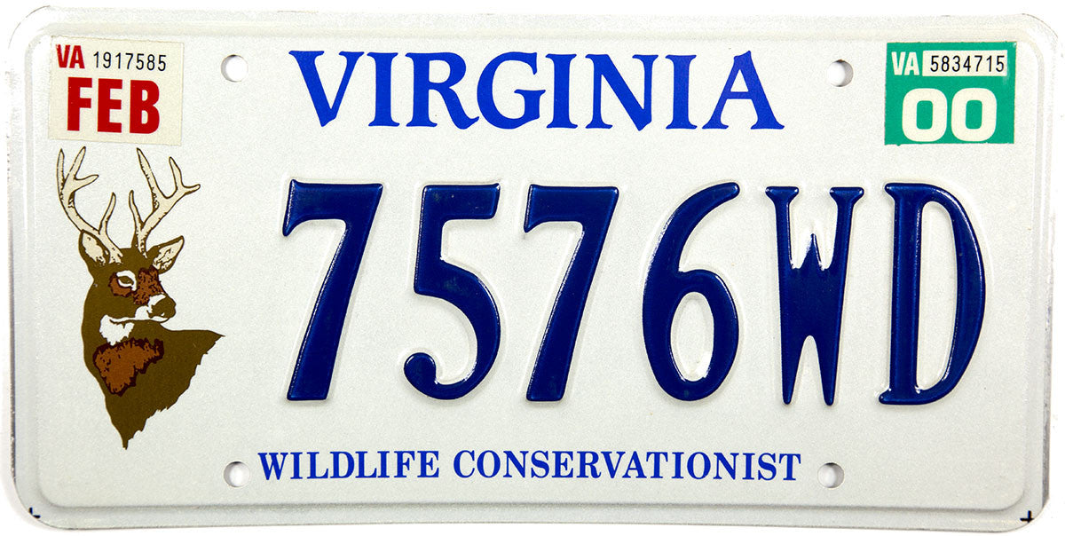 2000 Virginia Deer Wildlife License Plate
