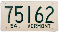 1954 Vermont License Plate